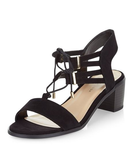 Wide Fit Black Suedette Ghillie Block Heels  | New Look
