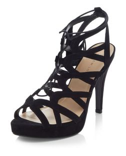 Wide Fit Black Suedette Platform Ghillie Heels  | New Look