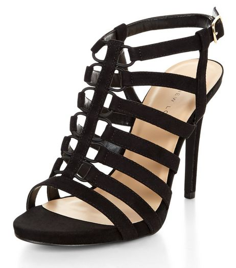 Wide Fit Black Elasticated Strap Heels | New Look