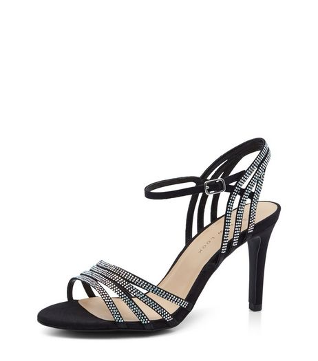 Wide Fit Black Suedette Embellished Ankle Strap Heels  | New Look