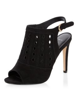 Wide Fit Black Laser Cut Out Peeptoe Sling Back Heels  | New Look