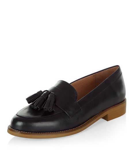 Black Premium Leather Tassel Loafers | New Look