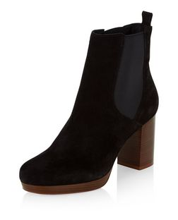 Black Premium Suede Block Heel Chelsea Boots  | New Look