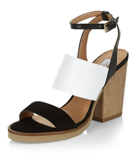 Black Premium Leather Contrast Block Heels | New Look