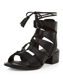 Black Premium Leather Ghillie Sandals  | New Look