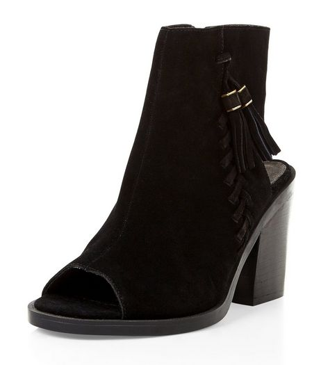 Black Premium Suede Peep Toe Block Heel Boots | New Look