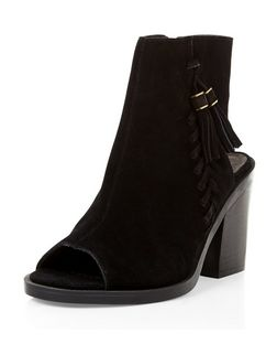 Black Premium Suede Peeptoe Block Heel Boots | New Look
