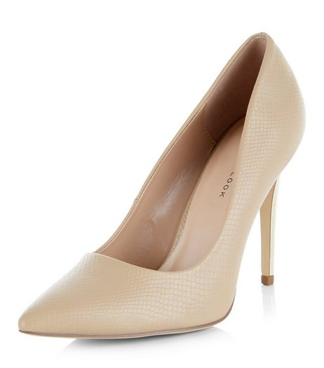 Wide Fit Camel Pointed Metal Heel Court Shoes  | New Look