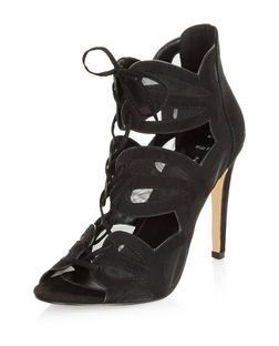 Wide Fit Black Mesh Cut Out Ghillie Heels  | New Look
