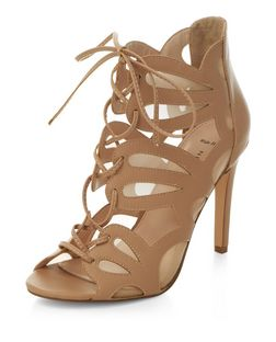 Wide Fit Stone Mesh Cut Out Ghillie Heels  | New Look