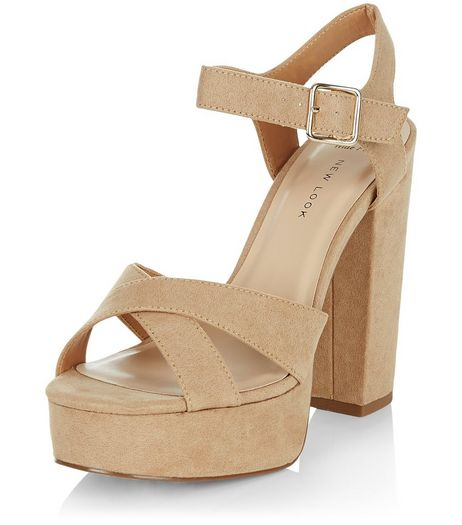 Wide Fit Stone Suedette Cross Strap Block Heels  | New Look
