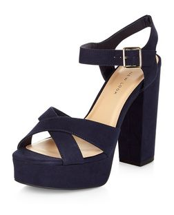 Wide Fit Navy Suedette Cross Strap Block Heels  | New Look