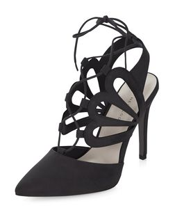 Wide Fit Black Suedette Cut Out Pointed Ghillie Heels  | New Look