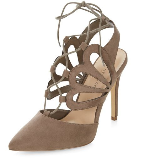Wide Fit Light Brown Suedette Cut Out Pointed Ghillie Heels  | New Look