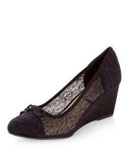 Wide Fit Black Lace Wedges  | New Look