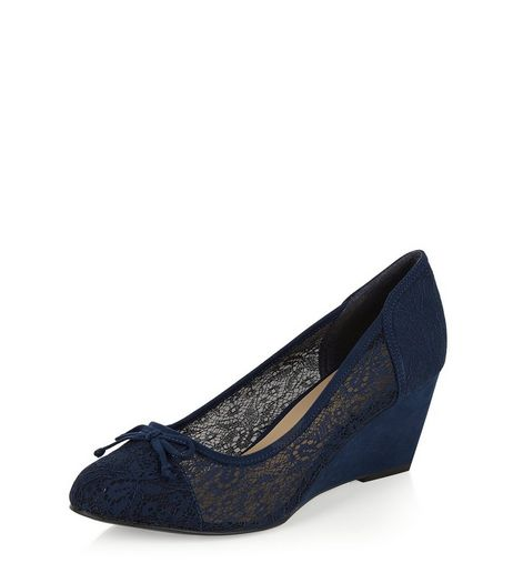 Wide Fit Navy Lace Wedges | New Look