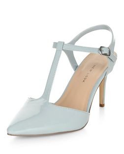 Wide Fit Pale Blue Patent T-Bar Strap Pointed Heels | New Look