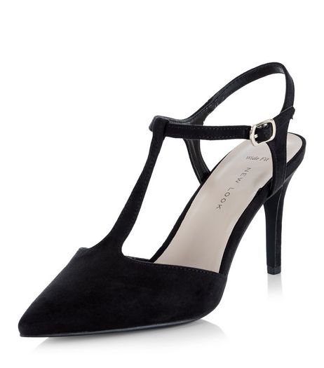 Wide Fit Black Suedette T-Bar Pointed Heels  | New Look