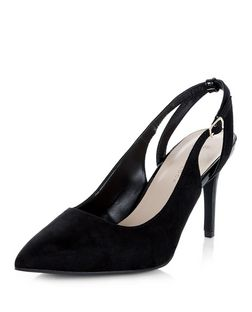 Wide Fit Black Suedette Sling Back Pointed Heels  | New Look