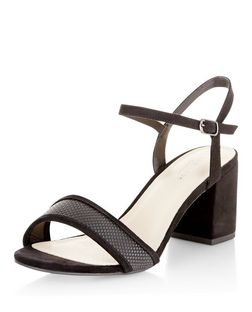 Black Comfort Woven Strap Mid Heels  | New Look