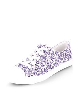 Purple Floral Print Lace Up Plimsolls  | New Look