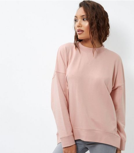 Mid Pink Balloon Sleeve Sweater  | New Look