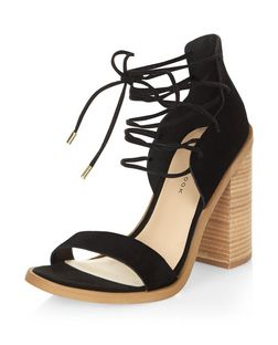 Black Leather Lace Up Block Heel Sandals  | New Look