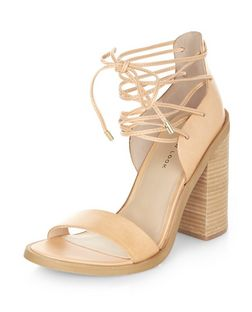 Stone Leather Lace Up Block Heel Sandals  | New Look