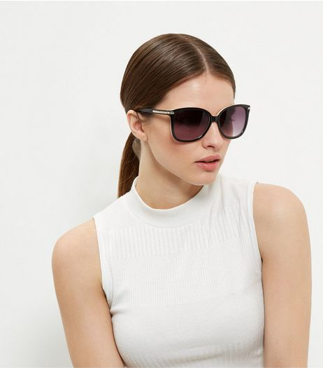 Black and Gold Oversized Rectangle Sunglasses | New Look