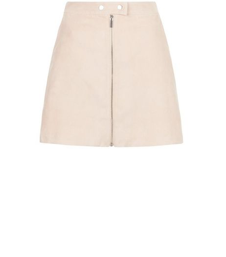 Light Pink Suedette Zip Front A-Line Skirt  | New Look