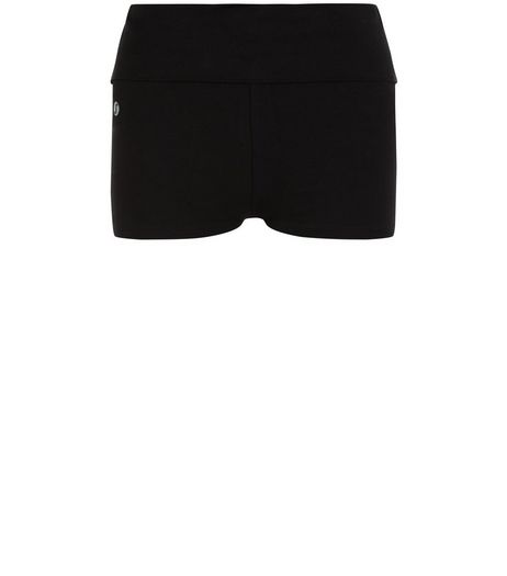 Black Fold Over Waist Yoga Sports Shorts  | New Look