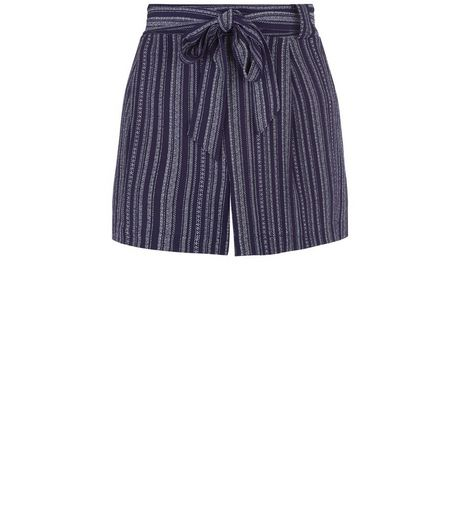 Blue Stripe Tie Waist Shorts  | New Look