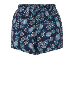 Blue Pineapple Print Runner Shorts  | New Look