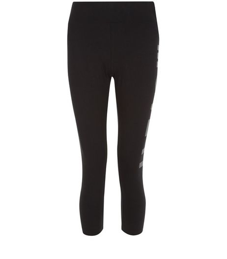 Black Move It Cropped Sports Leggings  | New Look