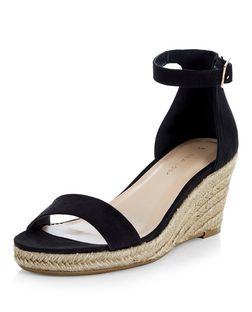 Black Suedette Ankle Strap Espadrille Wedges | New Look
