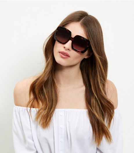 Brown Tortoiseshell Print Oversized Sunglasses | New Look