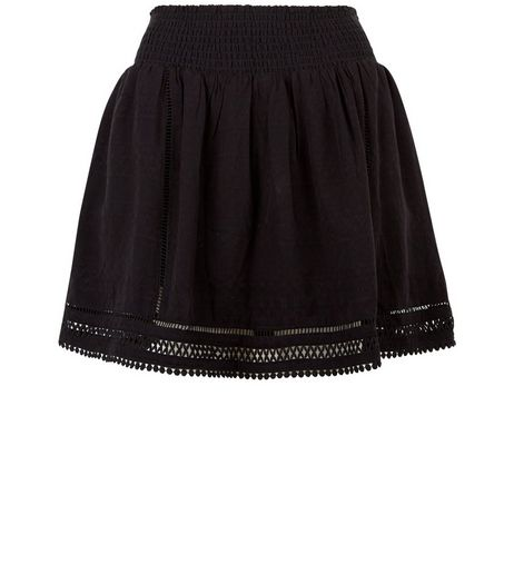 Black Crochet Trim Mini Skirt  | New Look