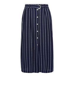 Navy Stripe Button Front Tie Waist Midi Skirt  | New Look