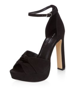 Black Suedette Knotted Strap Platform Heeled Sandals  | New Look