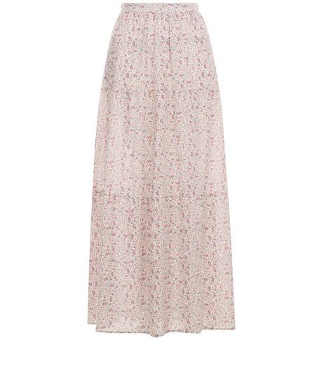 White Ditsy Floral Print Tiered Maxi Skirt  | New Look