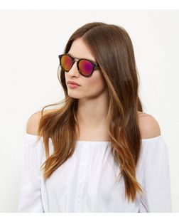Grey Tortoiseshell Top Bar Sunglasses  | New Look