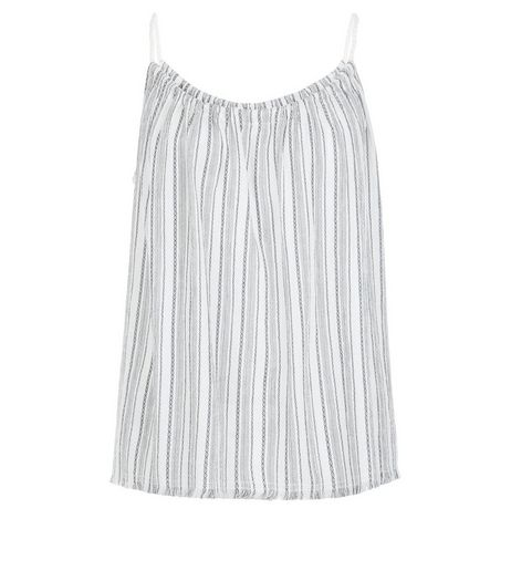 White Stripe Fray Hem Cami  | New Look