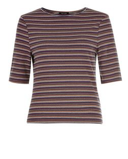 Blue Pointelle Stripe 1/2 Sleeve Top  | New Look