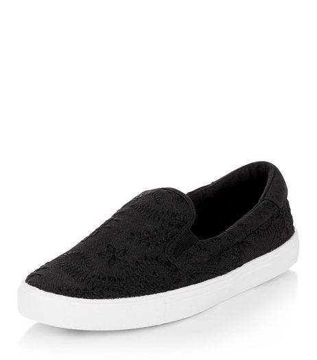 Black Embroidered Slip On Plimsolls  | New Look