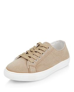 Camel Textured Lace Up Plimsolls  | New Look