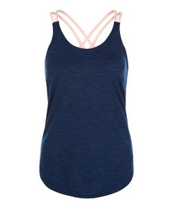 Navy Double Strap Yoga Sports Vest  | New Look