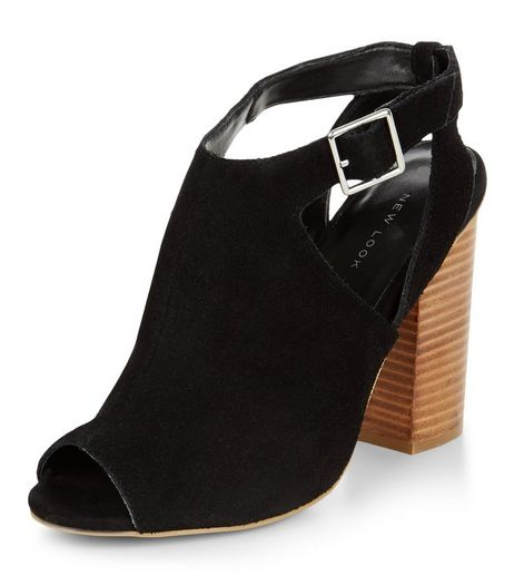 Black Suede Cut Out Block Heels  | New Look