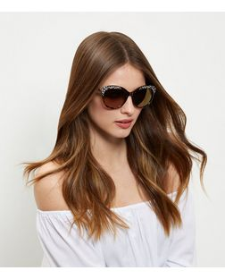 Brown Tortoiseshell Print Embellished Cat Eye Sunglasses | New Look