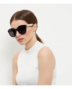 Black Contrast Oversized Sunglasses  | New Look