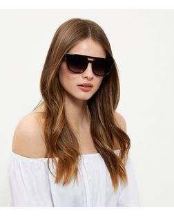 Black Double Bar Sunglasses | New Look
